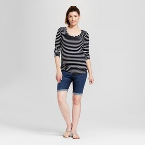 Maternity Crossover Bermuda Jean Shorts #61-35